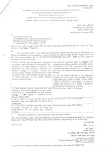 GOI Health and Family welfare reply reg No approval to SRM Medi
